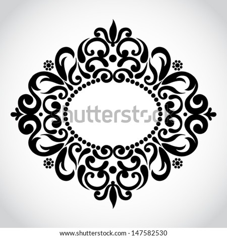 Symmetric ornament in Victorian style. Element for design. It can be used  for decorating