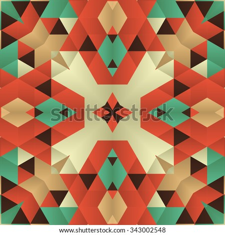 Symmetrical background element with bold geometrical patterns and stylized floral pattern. For wallpaper, pattern fills, web page background, surface textures for print production. - stock vector