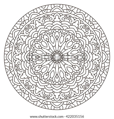 Symmetrical Circular Pattern Mandala Coloring Page For Adults Turkish Islamic Oriental Greek