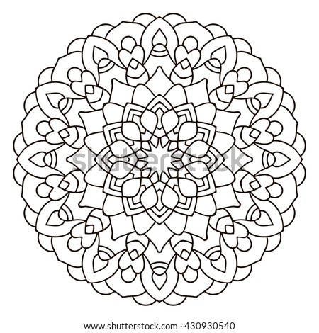 symmetrical circular pattern mandala coloring page for adults turkish islamic oriental ornament - Mandalas Coloring Pages
