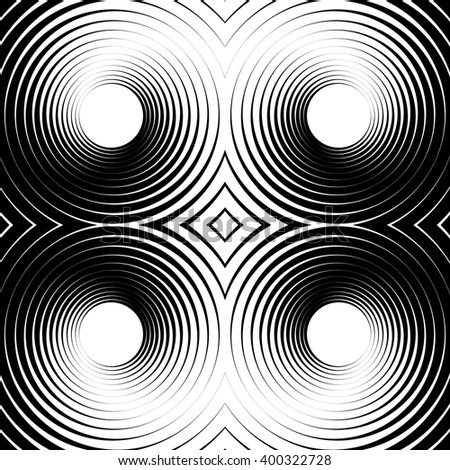 Symmetrical repeatable pattern with concentric circles, rings. Circular geometric pattern. Black and white, monochrome background - stock vector