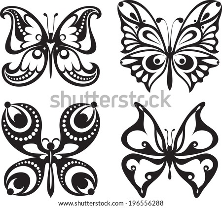 Symmetrical silhouettes butterflies with open wings tracery. Black and white drawing. Dining decor. - stock vector