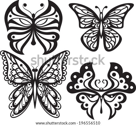 Symmetrical silhouettes butterflies with open wings tracery. Black and white drawing. options. - stock vector