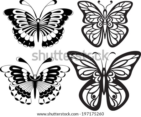 Symmetrical silhouettes butterflies with open wings tracery. Black and white drawing. options stylization - stock vector