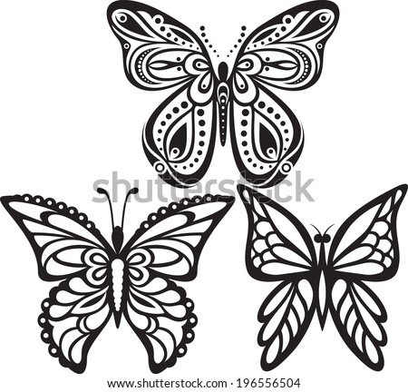 Symmetrical silhouettes butterflies with open wings tracery. Black and white drawing. Sophisticated decor. - stock vector