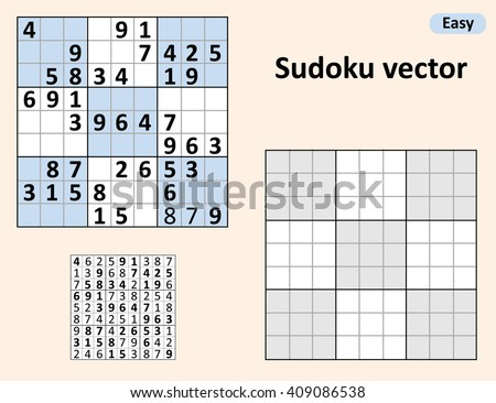Symmetrical Sudoku with answers. Vector set Sudoku. Blank template.