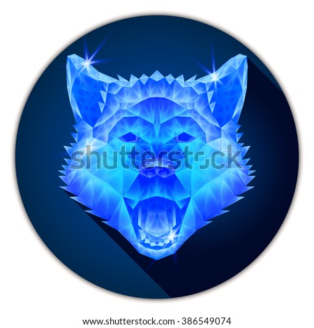 Symmetrical vector illustration of a siberian husky dog. Made in low poly triangular style. Glass or ice imitation.