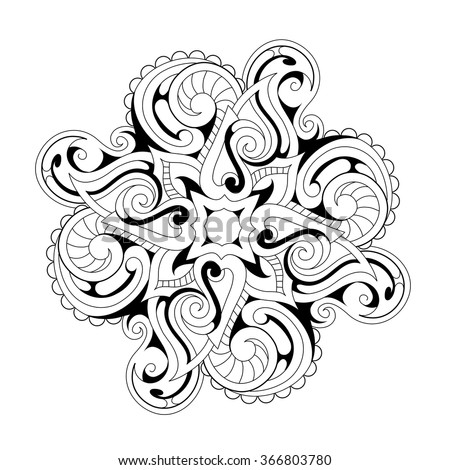 Symmetry flower ornament with ethnic elements. Good for coloring book and zentangle - stock vector