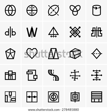 Symmetry icons - stock vector