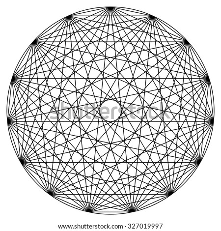 Synchronicity mandala vector illustration, line drawing