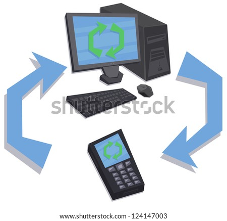 synchronization of personal computer and mobile phone