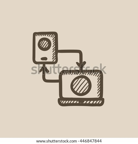Synchronization smartphone with laptop vector sketch icon isolated on background. Hand drawn Synchronization smartphone with laptop icon. Synchronization sketch icon for infographic, website or app. - stock vector