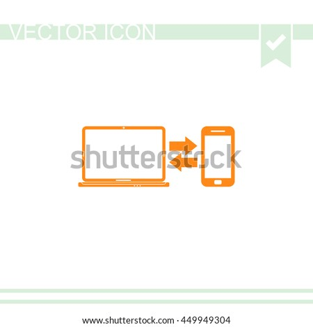 Synchronization vector icon. Notebook with phone sync symbol. Data exchange. - stock vector