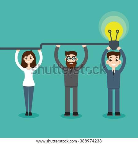 Synergy concept. Man hold bulb - stock vector