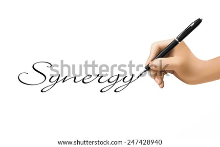 synergy word written by 3d hand over white  - stock vector