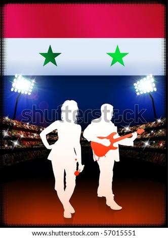 Syria Flag with Live Music Band on Stadium Background Original Illustration - stock vector