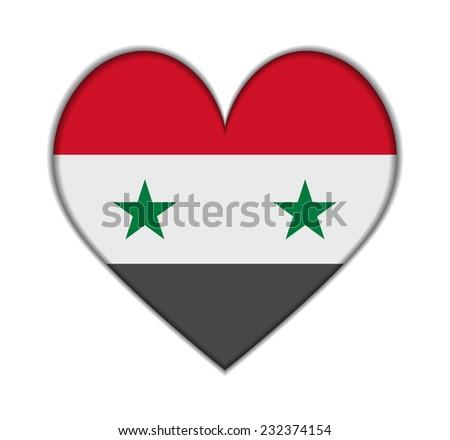 Syria heart flag vector illustration - stock vector