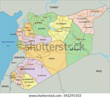 Syria highly detailed editable political map stock vector hd syria highly detailed editable political map with labeling gumiabroncs Images
