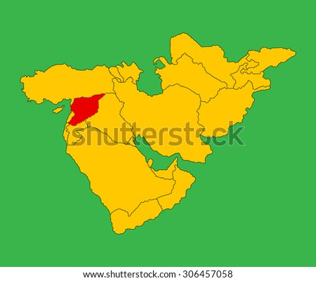 Syria vector map silhouette illustration isolated on Middle east vector map. - stock vector