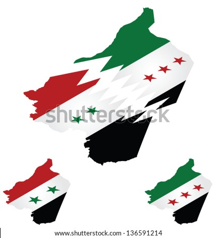 Syrian isometric flag maps with representation of country being torn apart by conflict - stock vector