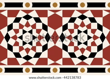 Syrian Red Arabic Seamless Border. Traditional Islamic Geometric Design. Mosque decoration element.