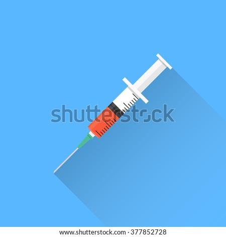 Syringe in flat style. Syringe on a blue background with long shadow. Syringe icon. Flat design. Vector. Flu vaccine. Vaccine. Syringe with vaccine - stock vector