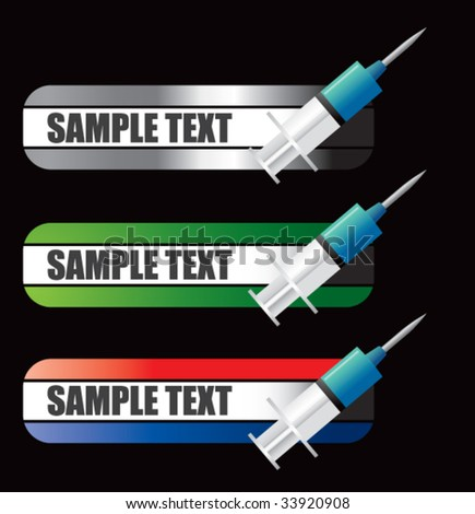 syringe on bold advertisement banner - stock vector