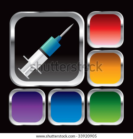 syringe on glossy web button - stock vector