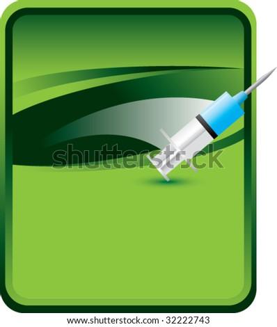 syringe on green background - stock vector