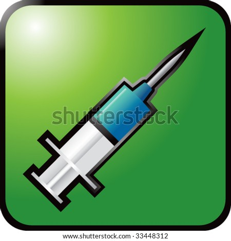 syringe on green reflective web button - stock vector