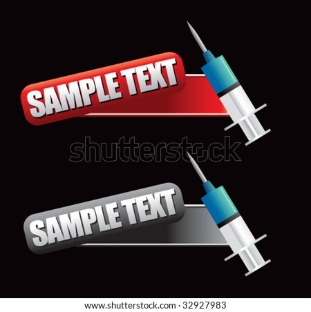 syringe on tilted banners - stock vector