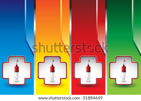 syringe with blood on colored vertical banners - stock vector