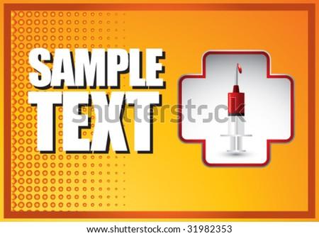 syringe with blood on orange banner - stock vector