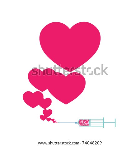 Syringe with heart. Vector illustration 1. - stock vector