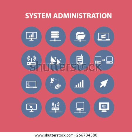 system administration, computer icons, signs, illustrations design concept set. vector - stock vector