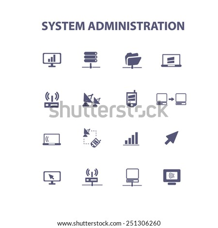 system administration, computer, mobile, interface, isolated design flat icons, signs, illustrations vector set on background - stock vector