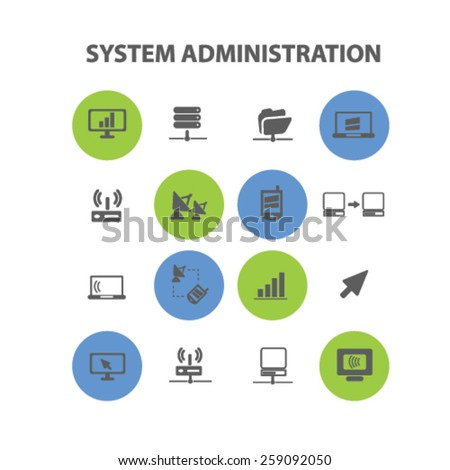system administration, connection, internet icons, signs, illustrations concept design set, vector - stock vector
