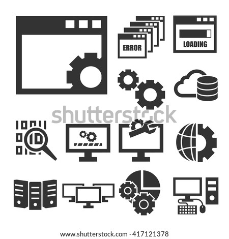 system administrator, computer network icon set - stock vector