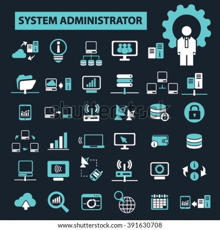 system administrator icons  - stock vector