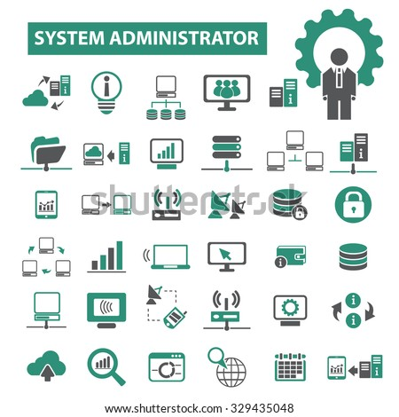 system administrator, network, hosting icons - stock vector