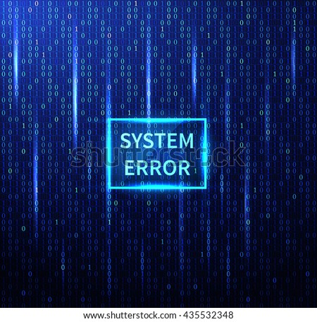 system error futuristic background. Matrix numbers vector - stock vector