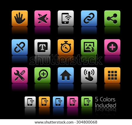 System Icons Interface // ColorBox Series ---- The Vector file includes 5 color versions for each icon in different layers -- - stock vector