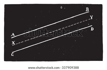 System of two parallel lines having an infinite number of centers, vintage engraved illustration. Industrial encyclopedia E.-O. Lami - 1875.