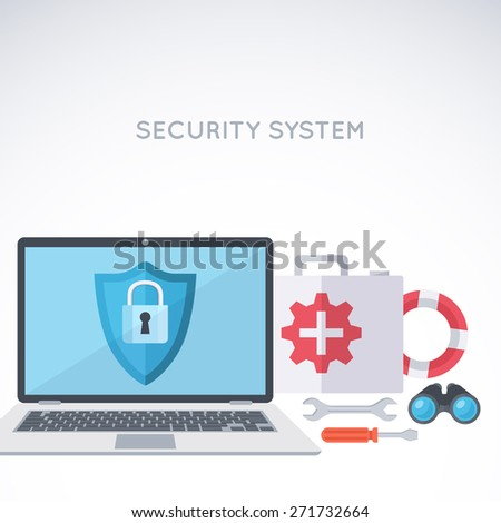 System security background. Digital protection and safety. Modern flat design template.  - stock vector
