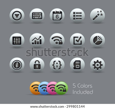 System Settings Interface // Pearly Series ----- The Vector file includes 5 color versions for each icon in different layers ----- - stock vector