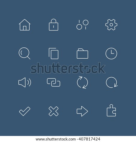 System thin outline icon set with rounded corners - different symbols on the dark background - stock vector