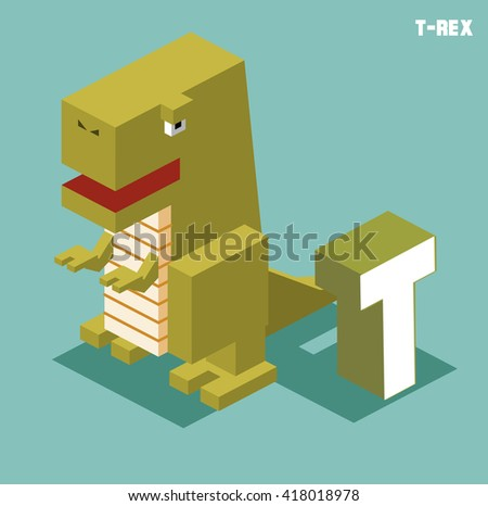T for T-rex, Animal Alphabet collection. vector illustration - stock vector