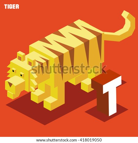T for Tiger. Animal Alphabet collection. vector illustration