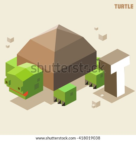 T for turtle, Animal Alphabet collection. vector illustration - stock vector