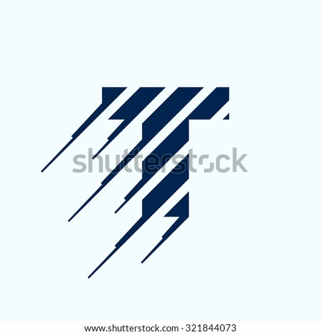 T letter logo design template. Fast speed vector unusual letter. Vector design template elements for your application or corporate identity.
